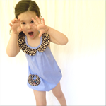 Le Catsuit! Chambray and leopard print playsuit (NB - size 3)