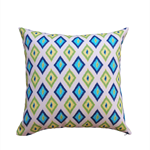 Carnival blue and lime ikat outdoor cushion cover
