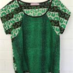 Green Animal Print Ladies Top Size 12