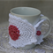 SALE White and berry Mug Cosy Made of Cotton