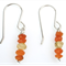 Faceted Carnelian beads and sterling silver triple row short necklace