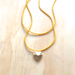 YELLOW COLOUR BASICS SILVER HEART LOCKET DOUBLE STRAND LONG NECKLACE