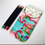Peggy-Sue Glasses/Pencil Case - Pink Flamingos in aqua blue water.