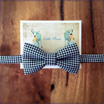 Black and White Check Boys Bow Tie