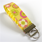 Wrist Key Fob - Pink & Olive on yellow lime green