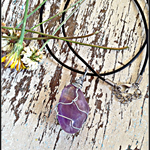 Tumbled Amethyst Wire Wrapped Crystal Necklace