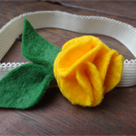 Yellow flower felt stretch headband
