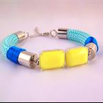 Rope statement bracelet neon mint aqua