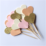 12 Love Heart Cupcake Toppers - Gold Glitter, Baby Pink, Peach and Cream