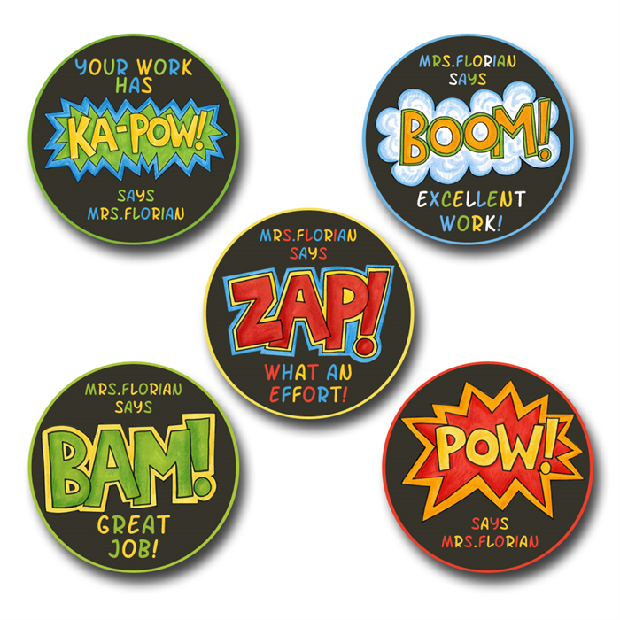 Comic strip personalised stickers for teachers