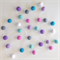 Felt Ball Garland in Pink, Turquoise, Violet, Grey, Bright Blue, White, Lilac