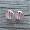 Glass dome stud earrings - Feathers
