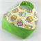 Baby bib with catch tray, Little Owl Fabric, Bamboo Toweling, Snap Fastened.