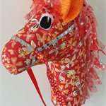 HOBBY HORSE - Bella Butterfly - beautiful butterflies on red with a tulle mane