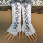 Crochet Fingerless Gloves, White Corset Wool Gloves, Arm Warmers, Gothic Gloves