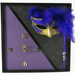 Unique Wall Clock, Venetian Mask Wall Art, Home Decor, Modern Contemporary Clock