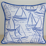 Blue Sailing Boats Cushion Cover