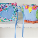 Miniature OWL Pincushion and Needle Case - Blue and Green