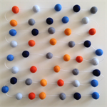 Felt Ball Garland in Grey, Navy, Light Blue, Blue, Pumpkin & Orange