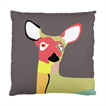Coloured Deer Head On Grey Background Double Sided Art Cushion Cover