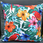 Red, Orange, Pink, Green Fragipani Designer Cushion Cover