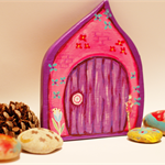 Pink and Purple Fairy/Elf door with tiny blue flowers free shipping