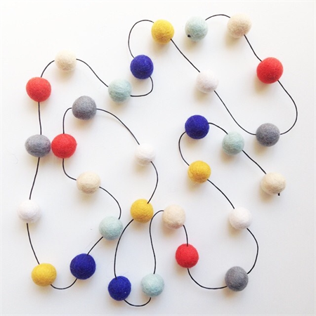 Felt Ball Garland in Coral, Sand, Pale Mint, Cobalt, Mustard, White, Grey