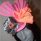 Geisha Beauty.SALE vibrant orange pink grey fan fascinator Races Oriental