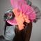 Geisha Beauty.SALE vibrant orange pink grey fan fascinator Races Oriental