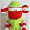 Christmas Sock Monkey Red and White Stripes with Light Green