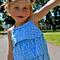 girls blouse - ruffled halter in cornflower blue polka dots