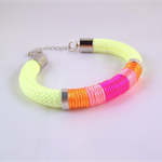 Neon rope statement bracelet yellow orange pink