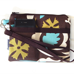 Wristlet Pouch Purse in Brown, Blue and White Suzani Fabric