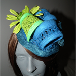 Organic Rhythm.SALE Lime green teal blue fascinator headpiece hat races wedding