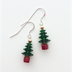 Sterling Silver & Swarovski Crystal Christmas Tree Earrings - Dark Green