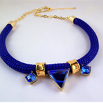 Navy and gold rope statement necklace sapphire swarovski crystal