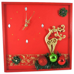 Christmas Decoration, Wall Clock with Gold Reindeer, Christmas Wall Decor
