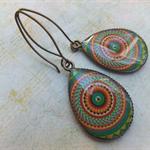 Green Aztec Print Earrings