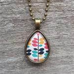 Teardrop pendant necklace - multi coloured pattern
