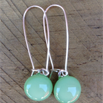 Mint Sterling Silver  Fused Glass Long Danglies Earrings