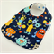 Cute Baby Bib - Monster Cotton Fabric, Bamboo Toweling, Snap Fastened.