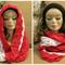Women's Crochet Infinity Scarf,2 Colour Crochet Chunky Scarf, Infinity Cowl Wool