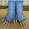 Blue Fingerless Gloves, Womens Lace Knitted Gothic or Burlesque Wool Gloves