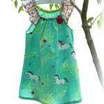 MaisyMoo Designs 'Green Pony Field' Dress Sizes: 0-3mth - 12mth