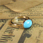 Replica - Jane Austen's Ring, Rolled Gold, 10mm x 8mm x 1.65 Ct Turquoise