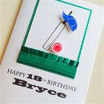 Happy Birthday LARGE custom 18 21 30 40 50 60 design cricket bat cap ball card