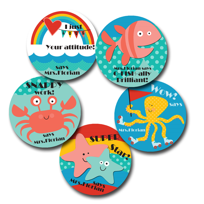 Seven seas personalised stickers for teachers