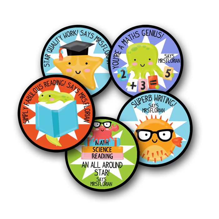 School of fish personalised stickers for teachers