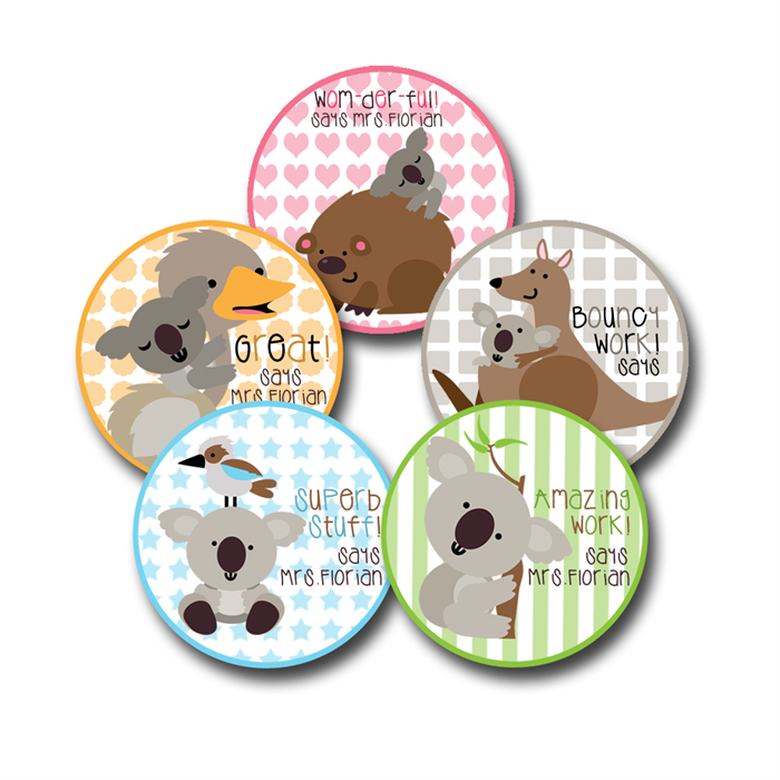 Koala capers personalised stickers for teachers