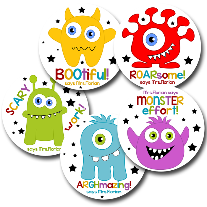 Monster mash personalised stickers for teachers